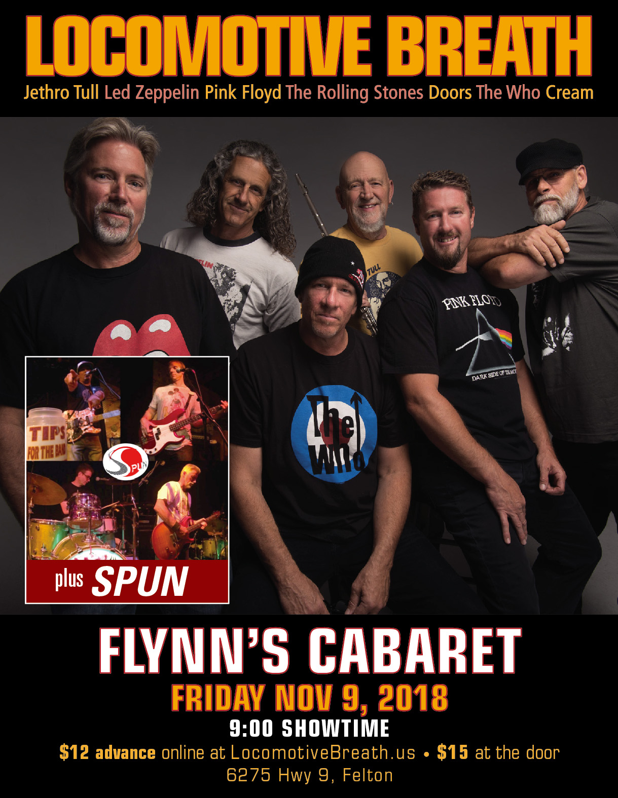 Locomotive Breath with Spun, Flynn's Cabaret, Felton, November 9, 2018